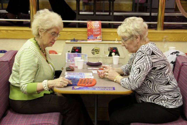 ladies playing bingo in a gala bingo hall